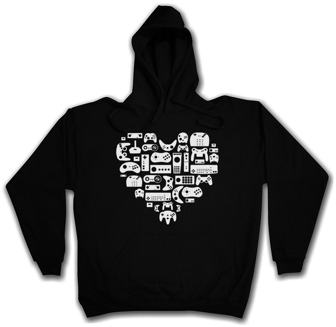 CONTROLLER HEART HOODIE Retro Video Game VG Joypad NES Nerd SNES Kapuzenpullover