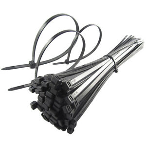 Cable-Ties-140mm-x-3-6mm-Black-Cable-Plastic-Tie-Wraps-Zip-Strong-PACK-OF-100