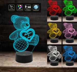 Lampada-Led-SAN-VALENTINO-7-colori-selezionabili-REGALO-NASCITA-ORSETTO-3D-con