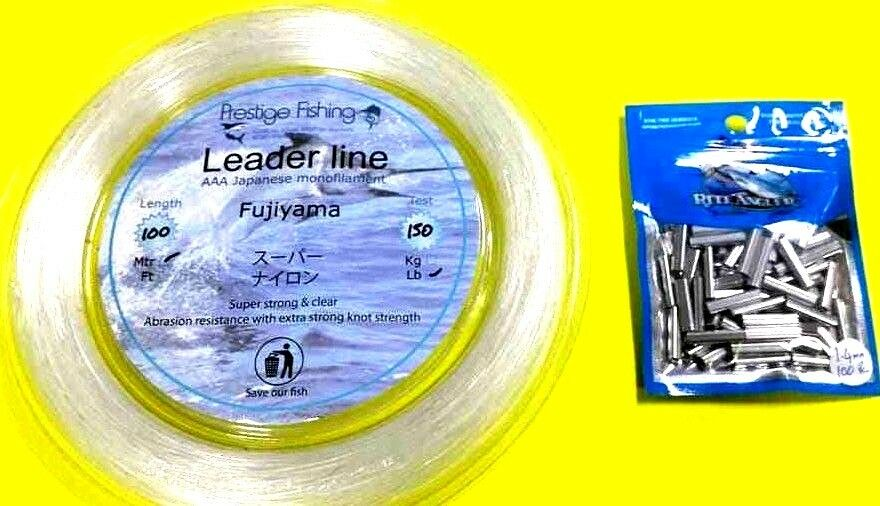 Fishing leader line 1 x 150lb   100 x1.4 mm x 18mm pk of rite angler Alum crimps  shop now