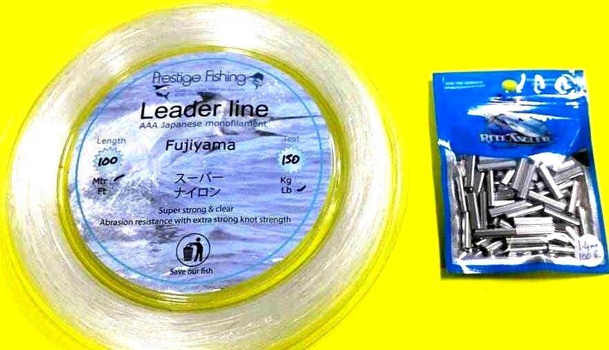 Fishing leader line 1 x 150lb  100 x1.4 mm x 18mm pk of rite angler Alum crimps
