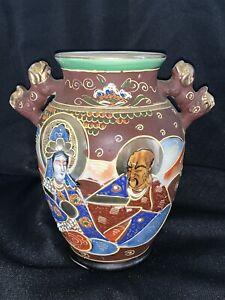 Antique-Japanese-Satsuma-Moriage-Vase-Foo-Dogs-People-Warrior-Hand-Painted