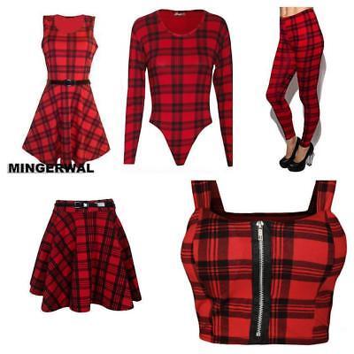 Ladies/' Red Tartan Sleeveless belted Dress//Women swing skater dress//legging 8-26