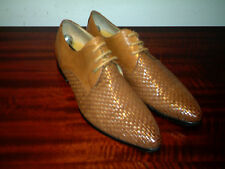 Mens 100% Leather  Tan Basket Weave. Lace-up Shoes UK 10.