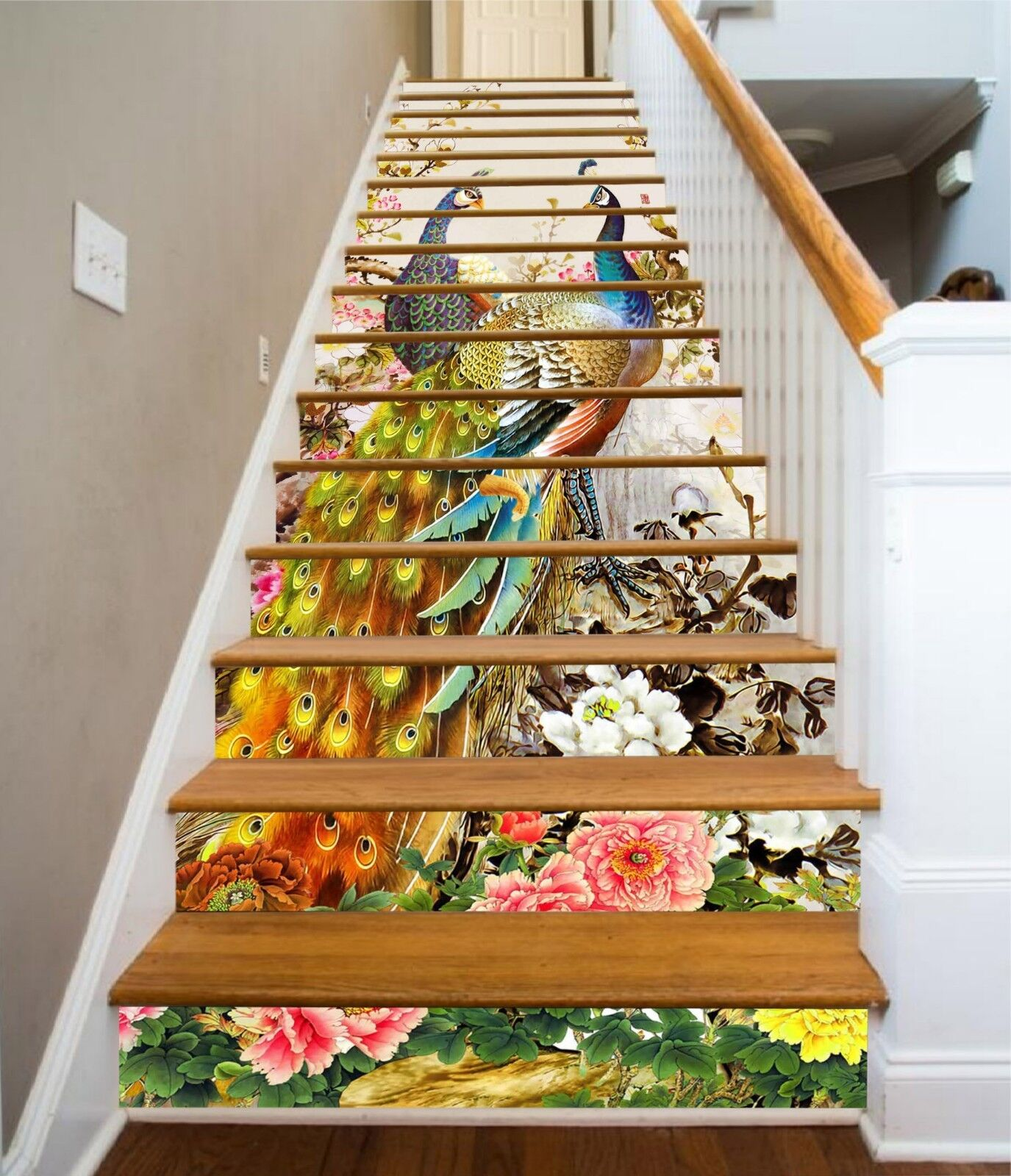 3D Peahen Paint Stair Risers Decoration Photo Mural Vinyl Decal Wallpaper US