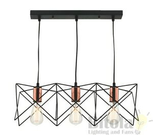NEW-MERCATOR-NIKO-3-LIGHT-CEILING-PENDANT-BLACK-METAL-WIRE-FRAME-WITH-COPPER