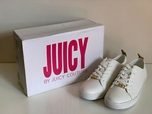JUICY-COUTURE-JODY-SMITH-WHITE-GOLD-LEATHER-ATHLEISURE-SNEAKERS-SHOES-8-5-99