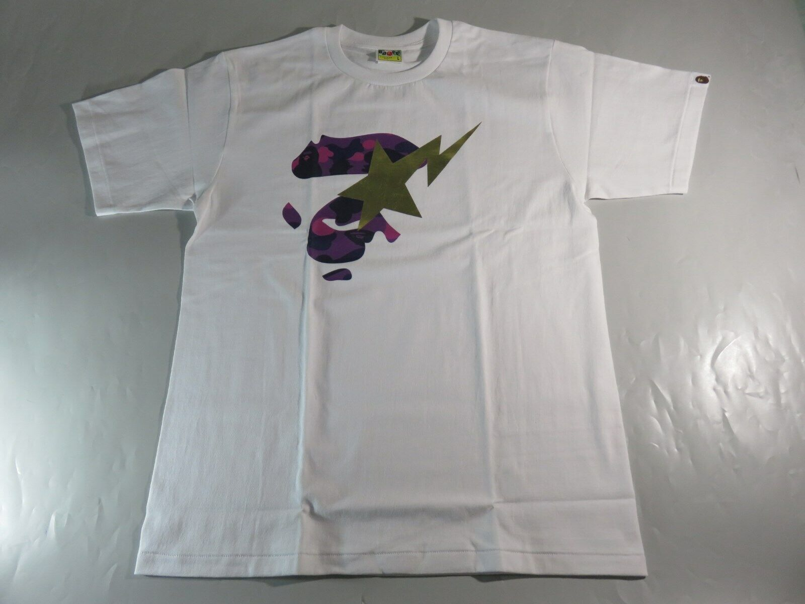20633 bape color camo face on bapesta white purple tee XL