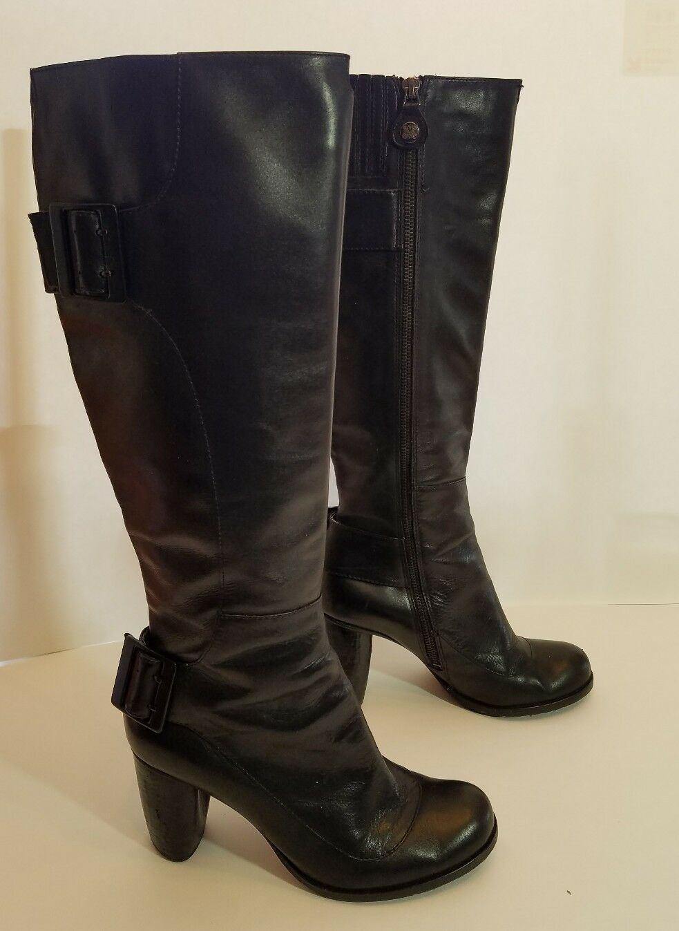 Modern Vintage Damens's tall boots schwarz zipper Größe 37 7 US