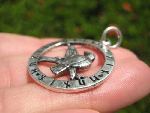 925 Sterling Huginn Muninn Raven birds of Odin Viking Germanic Runes Pendant A3