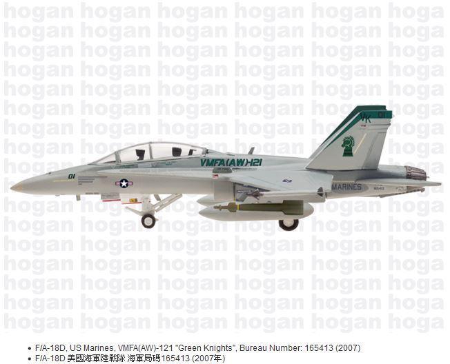 Hogan Wings 5613, F F F A-18D, US Marines, VMFA (AW) de -121  Caballeros verde , 2007, 1 200 da72a4