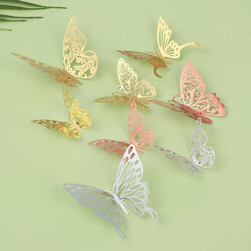 Butterfly Wall Stickers Mariposas Decals 3D Hollow Gold Silver Rose Gold
