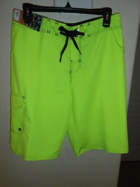 3cc4b2bd21 NEW MENS HANG TEN BOARD SWIM SHORTS NEON YELLOW SIZE 28 FREE SHIPPING!