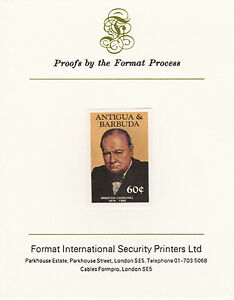 Antigua 4265 - 1984 CHURCHILL 60c imperf on Format International PROOF CARD