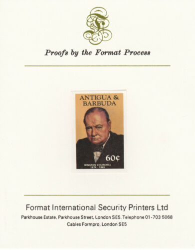 Antigua 4265 1984 CHURCHILL 60c imperf on Format International PROOF CARD