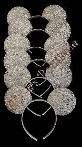 Minnie Mickey Mouse Ears Headbands 20 pc Shiny SILVER Birthday Party Costume DIY