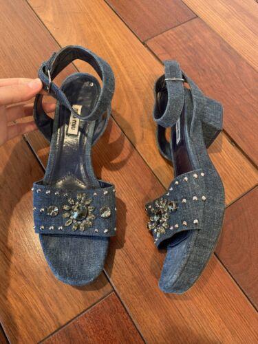 Miu Miu Blue Denim Embellished Block Heel Sandals