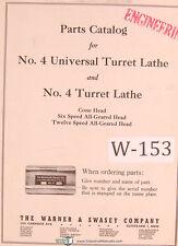Warner Amp Swasey No 4 Universal Turret Lathe Parts List Manual Year 1930