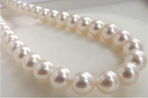"""HUGE AAAA 10-11MM PERFECT ROUND SOUTH SEA GENUINE WHITE PEARL NECKLACE 18/"""""""