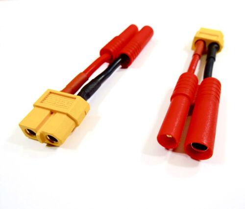2x Stück 4mm HXT Stecker auf XT60 Female Buchse Adapter Lipo Akku Kabel 14AWG