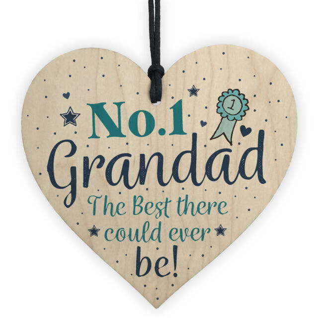 No1 Best Grandad Gifts From Grandchildren Wood Heart Grandpa Men Birthday Gift For Sale Online