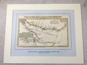 Vintage Print Antique Map Buenos Aires Argentina 1806 Harbour Port Nautical Art