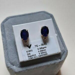 Blue sapphire with diamond stud earrings k18 yellow Japan gold