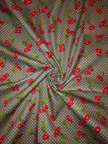 """5 MTR GREY CHERRY PRINT 100/% COTTON FABRIC...45/"""" WIDE £22.50 SPECIAL OFFER"""