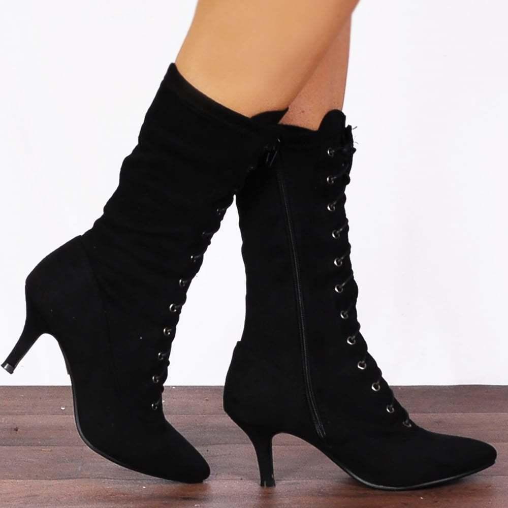 Negro STRETCH SOCK STYLE LACE UPS BLOCK HEELED Talla ANKLE botas Zapatos Talla HEELED 3-8 6c388c