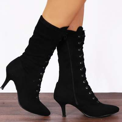 b427c91aeeba5 BLACK STRETCH SOCK STYLE LACE UPS KITTEN HEELS ANKLE BOOTS SHOES SIZE 3-8