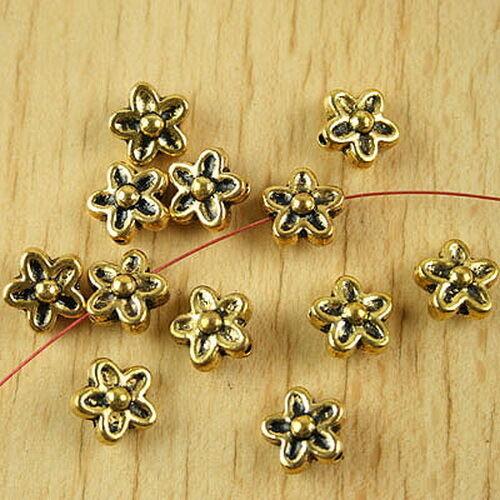 25pcs dark gold plum flower spacer beads h2220