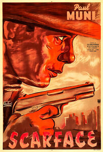 Scarface 1940s Movie Poster A1 High Quality Canvas Art Print