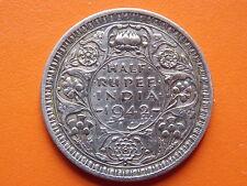 "George VI King Emperor Half Rupee ""1942"" Bombay Mint Original Silver Coin"