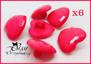 MAXI-LOT-6-BOUTONS-COEURS-TAILLES-ROSE-FUCHSIA-SCRAP-LAYETTE-COUTURE-GILET-15mm