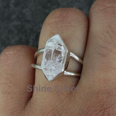 Good Looking Fancy Shape Natural Herkimer Diamond Black Tourmaline Raw Gemstone 925 Sterling Silver Rings Handmade Women Jewelry