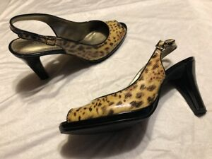 1161c2cb401 Image is loading Liz-Claiborne-Patent-Leather-Slingback-Shoes-Leopard-Print-