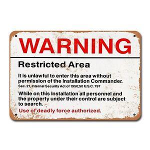 Warning-Restricted-Military-Area-51-Vintage-Tin-Sign-Metal-Decor-Metal-Sign