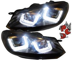 ORIGINAL-Sonar-VW-Golf-6-VI-Scheinwerfer-08-12-schwarz-LED-U-DRL-Golf-7-R-Look