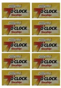 50-Rasierklingen-Gillette-7-O-039-CLOCK-SharpEdge-fuer-Rasierhobel-Messer-Double-Edge