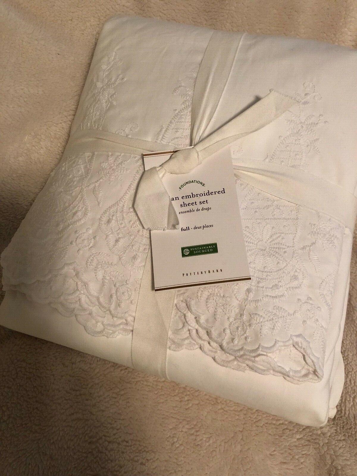 PB Rylan embroidered Sheet Set, Full, Retails  179.00 WHITE