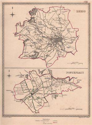 100% Quality West Yorkshire Towns. Leeds Pontefract Borough Plans. Creighton/walker 1835 Map