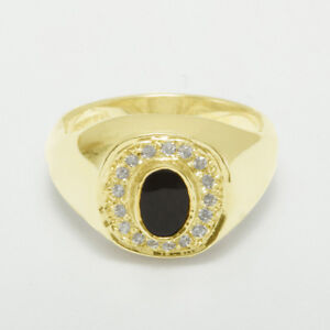 a7079f406fc01 Details about 9ct Yellow Gold Natural Onyx & Diamond Mens Signet Ring -  Sizes N to Z