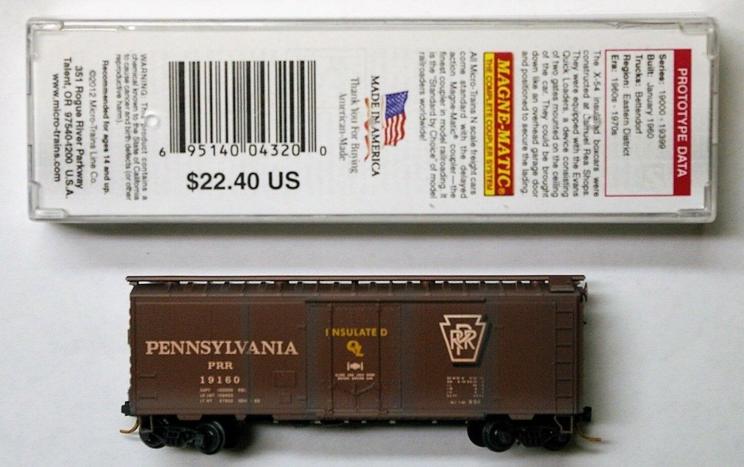 MTL Micro-Trains 21886 PRR 19160 FW Factory Weathered