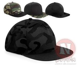 Beechfield-gorra-estilo-camuflaje-ajustable-ejercito-militar-visera-plana