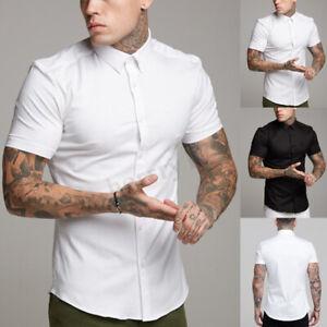 New-Mens-Casual-Formal-Shirts-Slim-Fit-Shirt-Top-Short-Sleeve-Muscle-Shirt-Tops