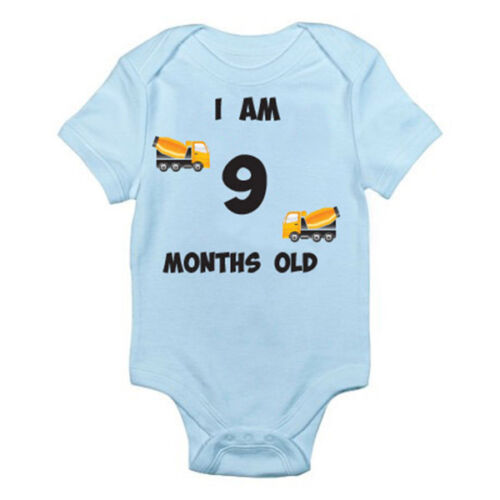 Age Nine Suit Truck Themed Baby Grow Birth I AM 9 MONTHS OLD