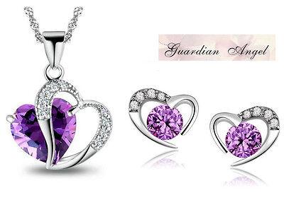 Silver Amethyst Crystal Heart Purple Pendant Necklace Stud Earrings Chain Gift