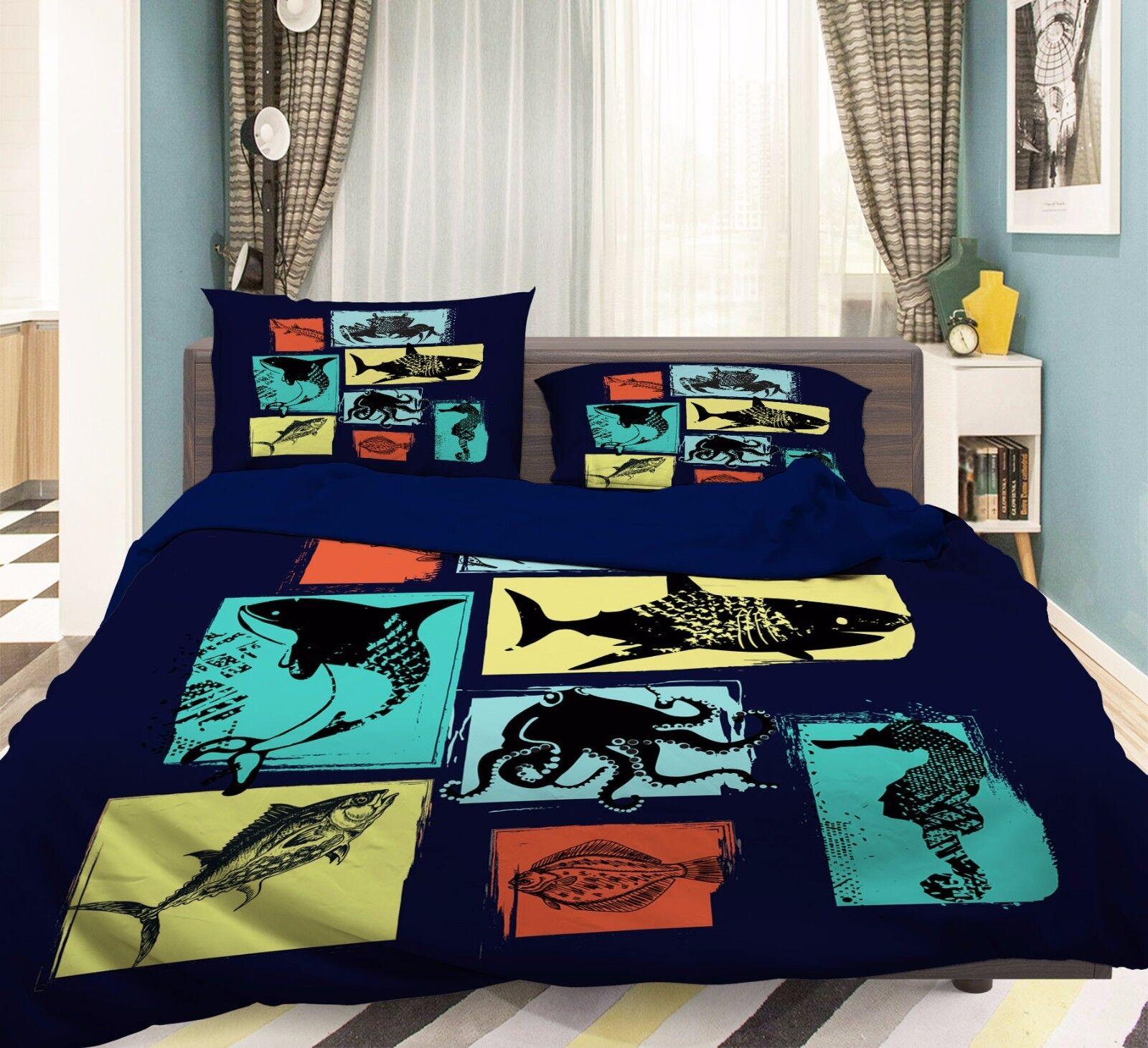 3D Fisch Anieme 559 Bett Kissenbezüge steppen Duvet Decken Set Single DE Sunmmer