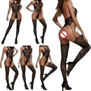 Ladies-Lace-Garter-Belt-Stocking-G-string-Lingerie-Thigh-Highs-Stockings-New
