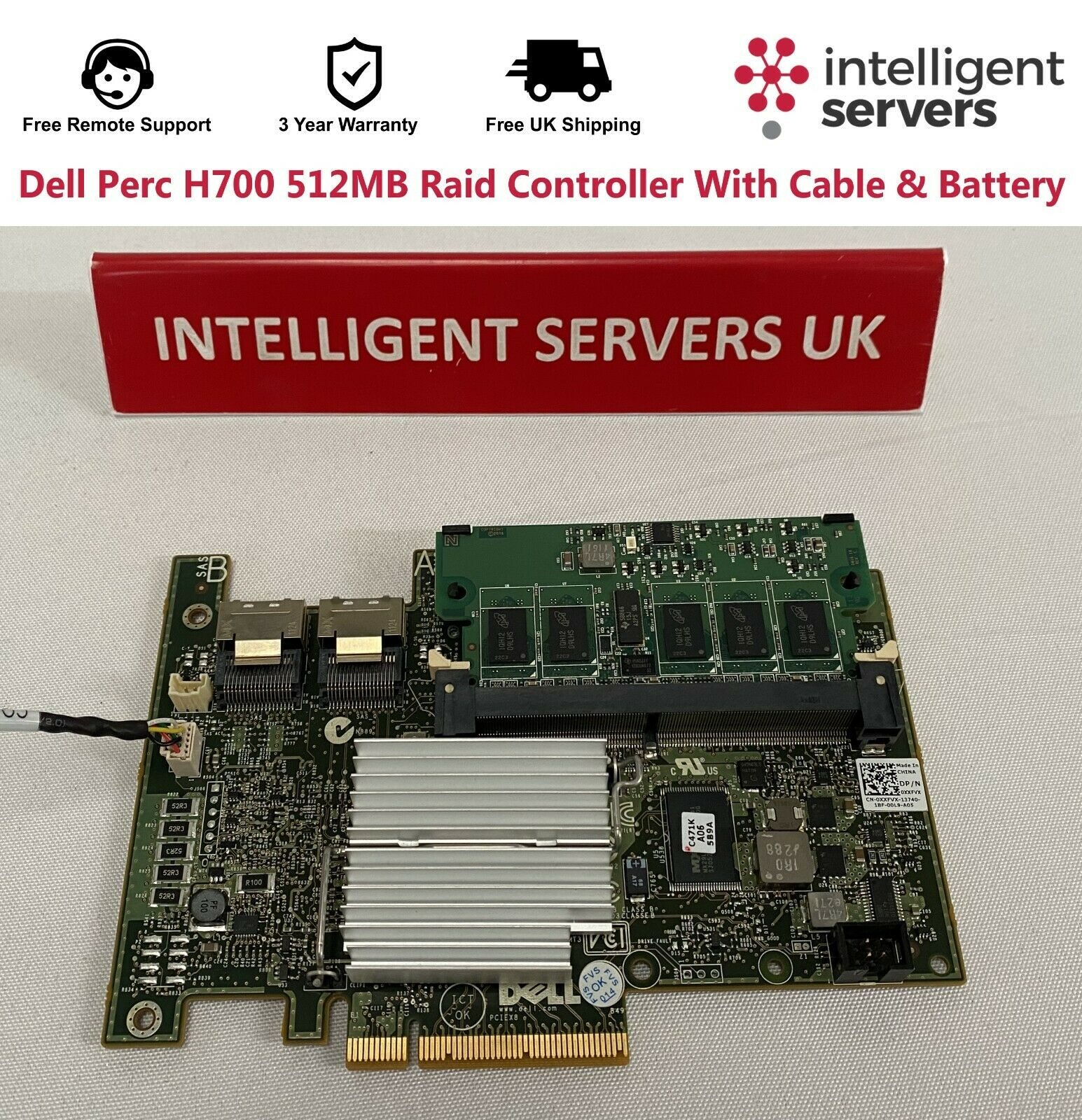 Dell Perc H700 512MB Raid Controller With Cable & Battery - XXFVX